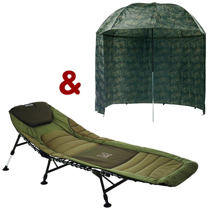 Mivardi Bedchair Premium + dáždnik PVC Zelený