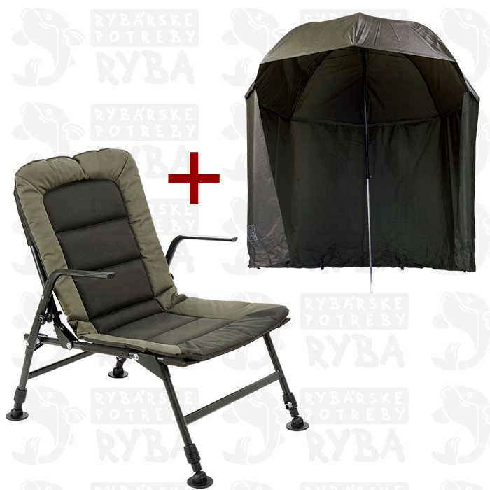 Mivardi Stolička Premium + dáždnik Green s bokmi